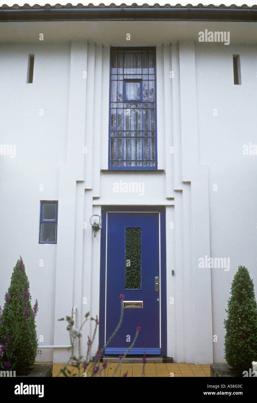 Gidea Park Essex England Art Deco Style Moderne 1934 Front Door And Window  Exhibition House Architect John Leech