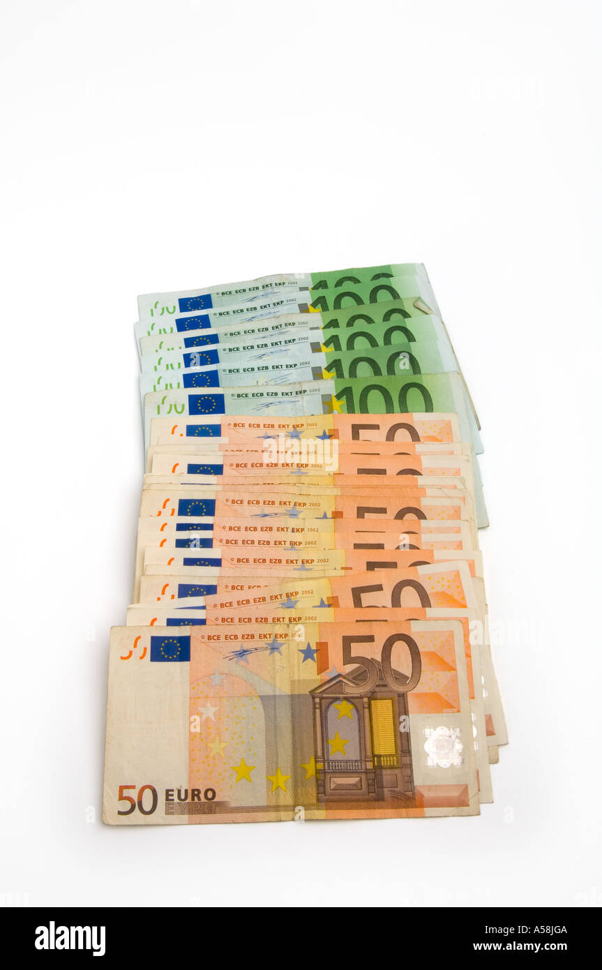 about 1500 euros in used 50 and 100 euro banknotes stock. Black Bedroom Furniture Sets. Home Design Ideas