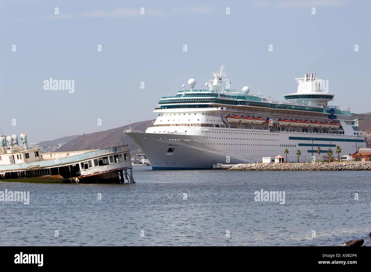 Cruise Ship With Sunken Ferry Ensenada Mexico Stock Photo - Sunken cruise ships