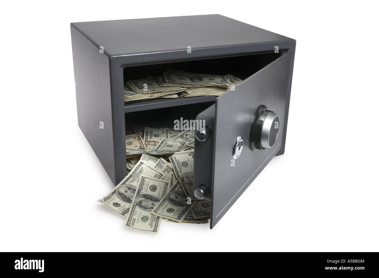 Open Safe With Money Spilling Out Cut Out On White Background ...
