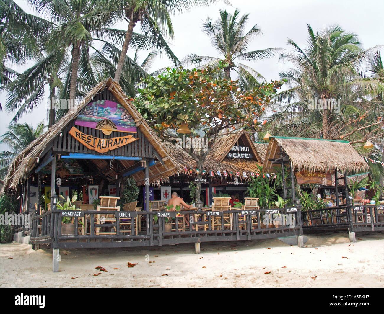 New hut bungalow restaurant and cafe lamai beach ko samui for Beach hut style