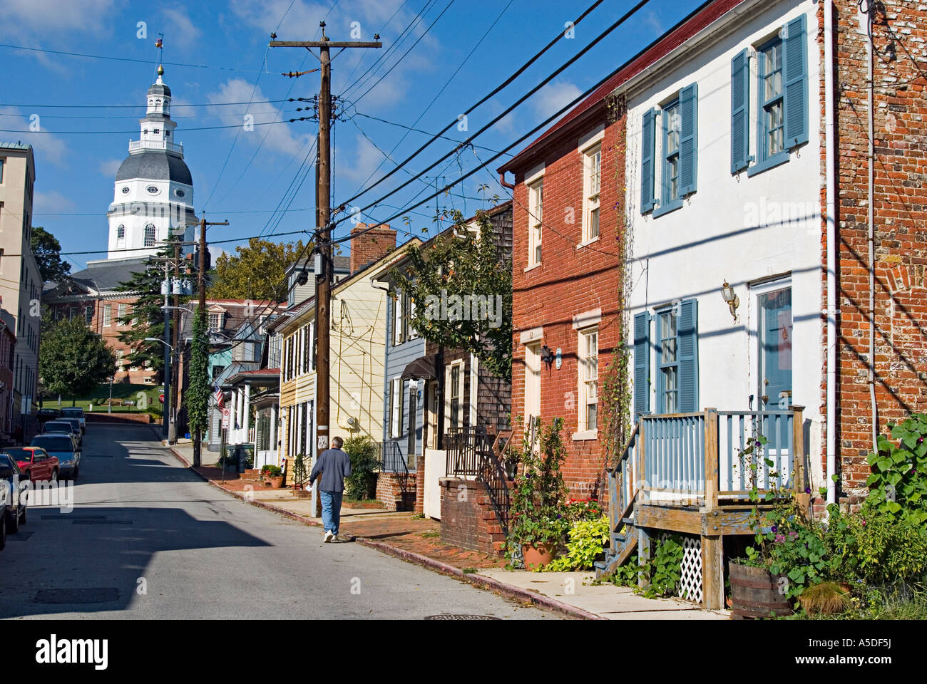 Street scene with row houses and capitol building in for House builders in maryland