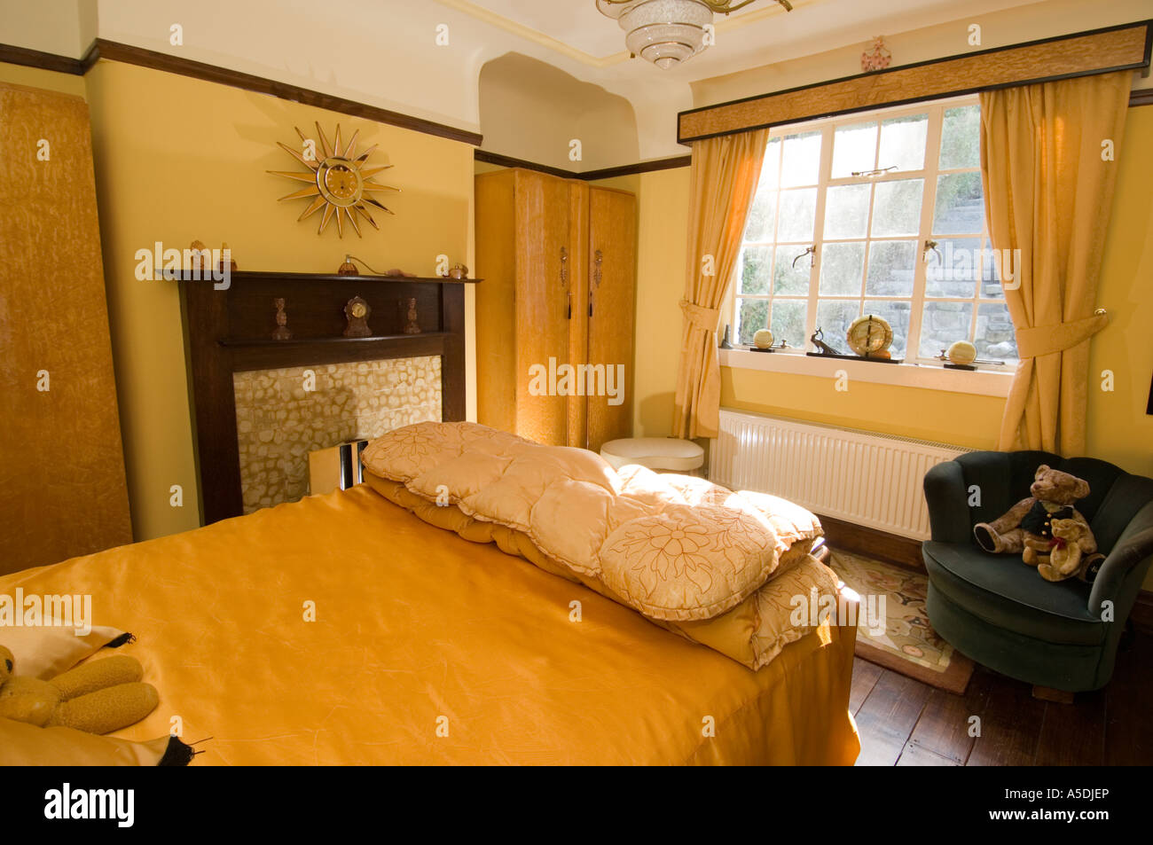 Art Deco House Interior. refurbished art deco nouveau 1930 s house interior bedroom morning warm  gold colour