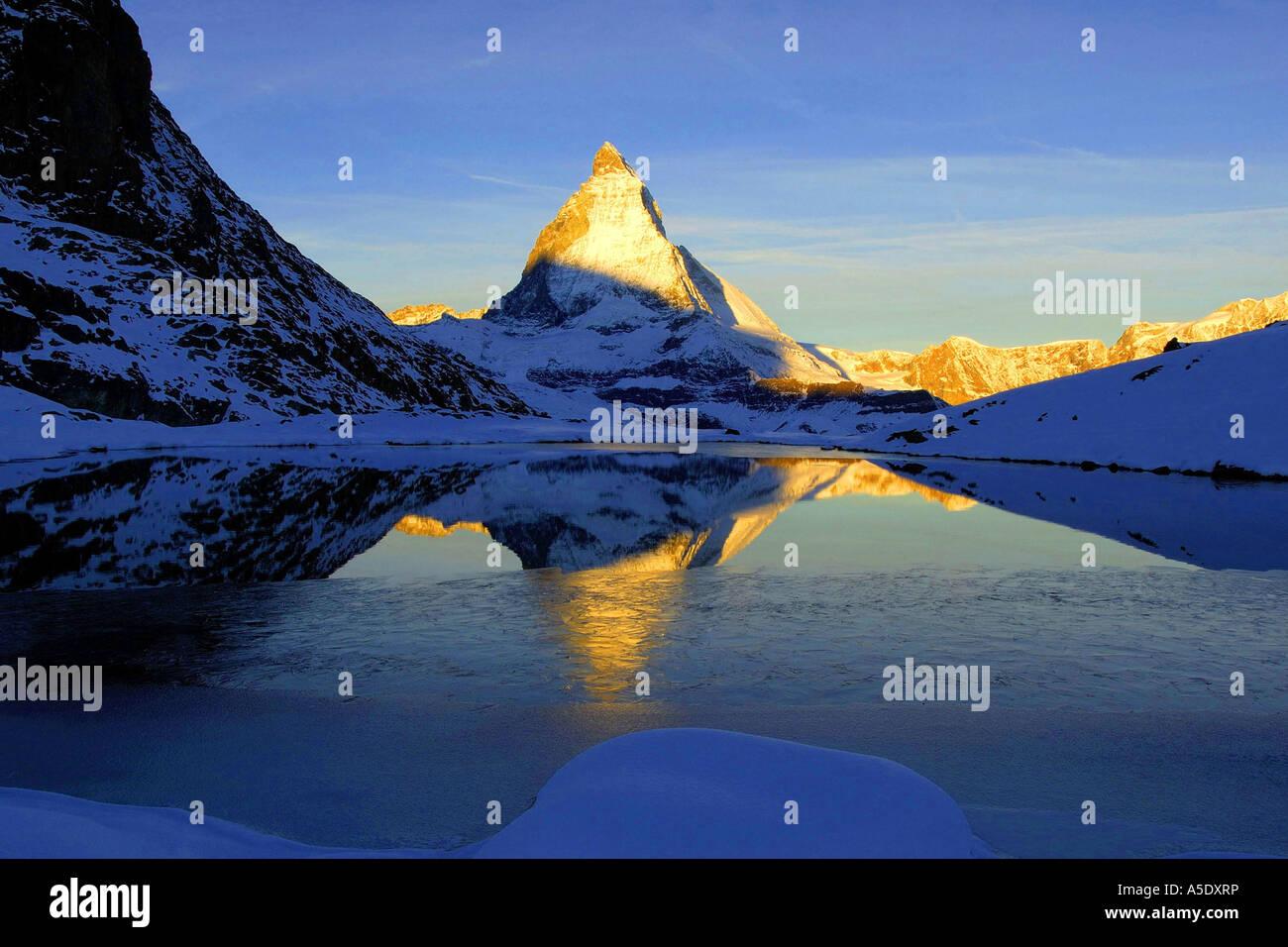 matterhorn and riffelsee in winter switzerland valais zermatt
