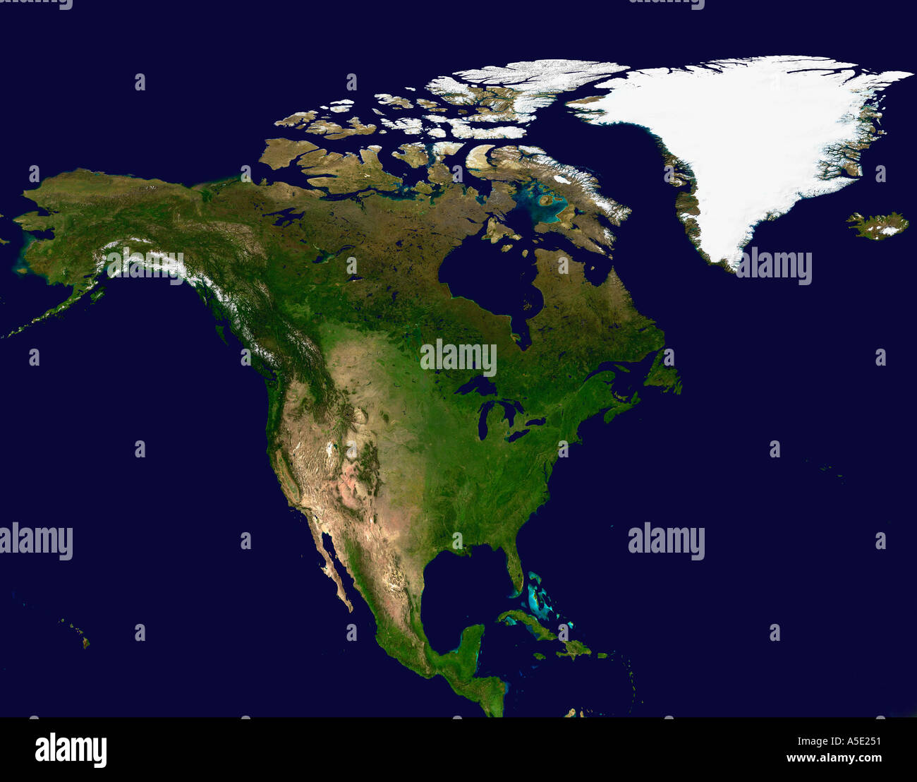 Satellite Image Of North America Earth From Space Stock Photo - North america satellite image
