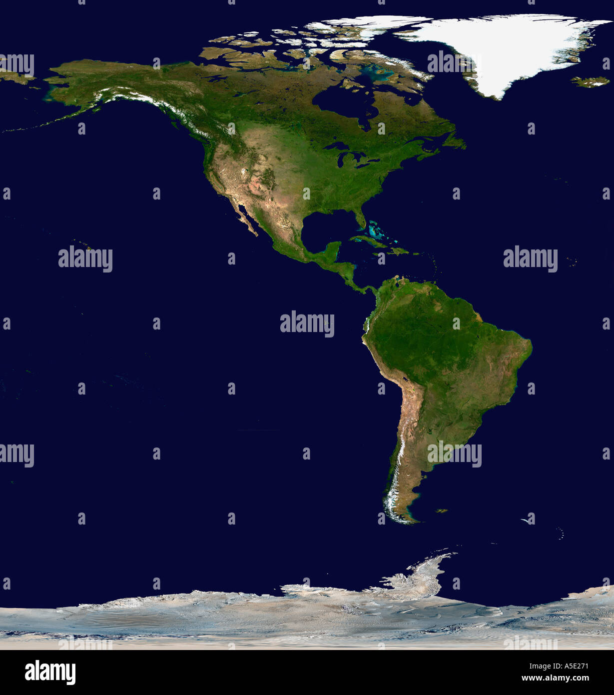Satellite Image of North and South America Earth from ...