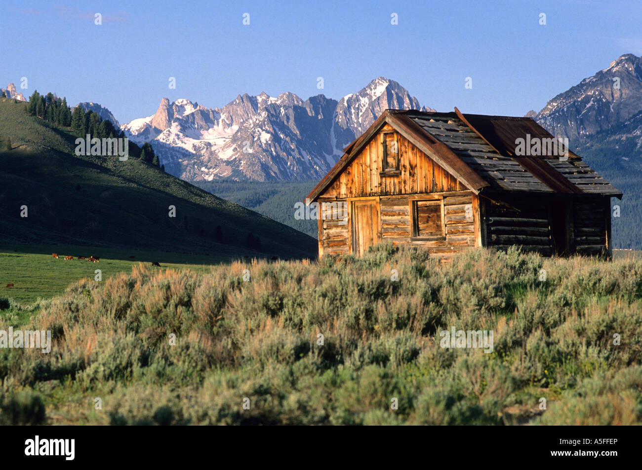 a log cabin and the sawtooth mountains in stanley idaho