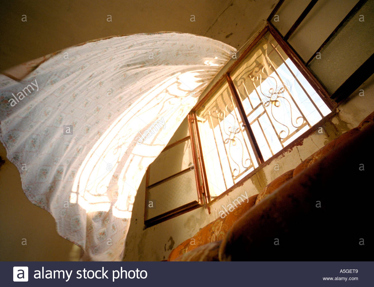 Open window with curtains blowing - Stock Photo The Wind Blowing Curtains From An Open Window Lebanon