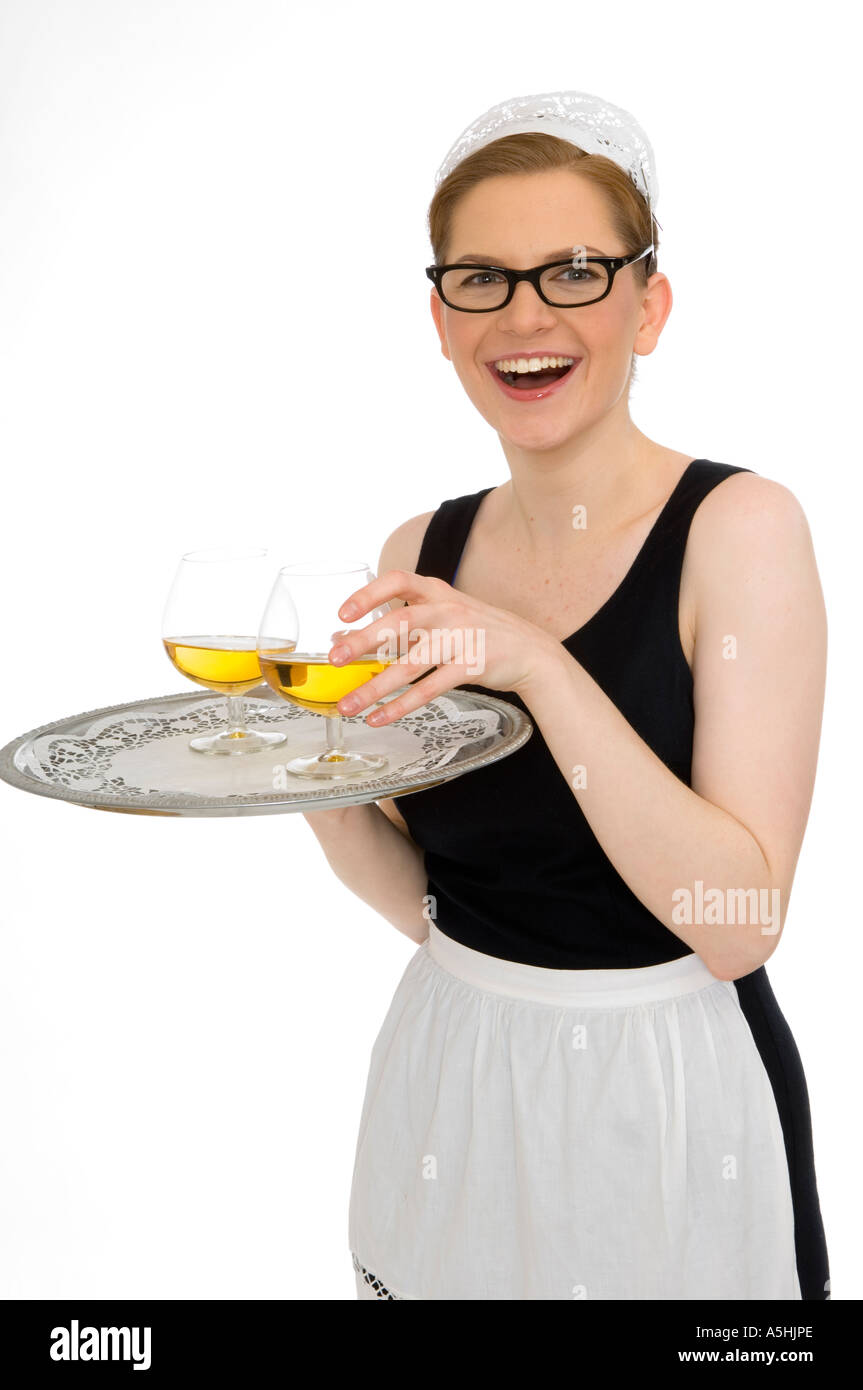 White apron food - Stock Photo Young Woman In White Apron And Black Dress Holding A Tray Waitress