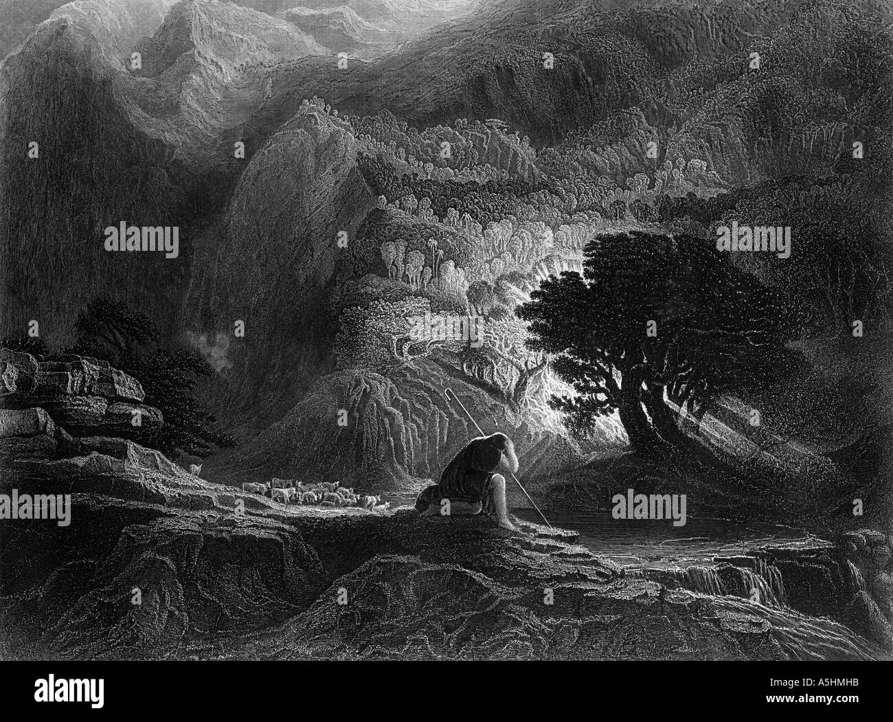 moses and the burning bush exodus chapter 3 verse 2 engraving