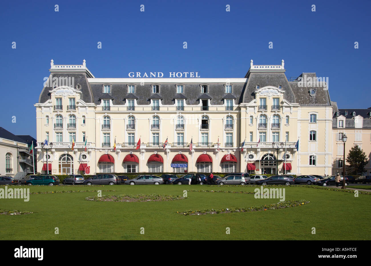 grand hotel cabourg normandy france from jardins du casino stock photo royalty free image. Black Bedroom Furniture Sets. Home Design Ideas
