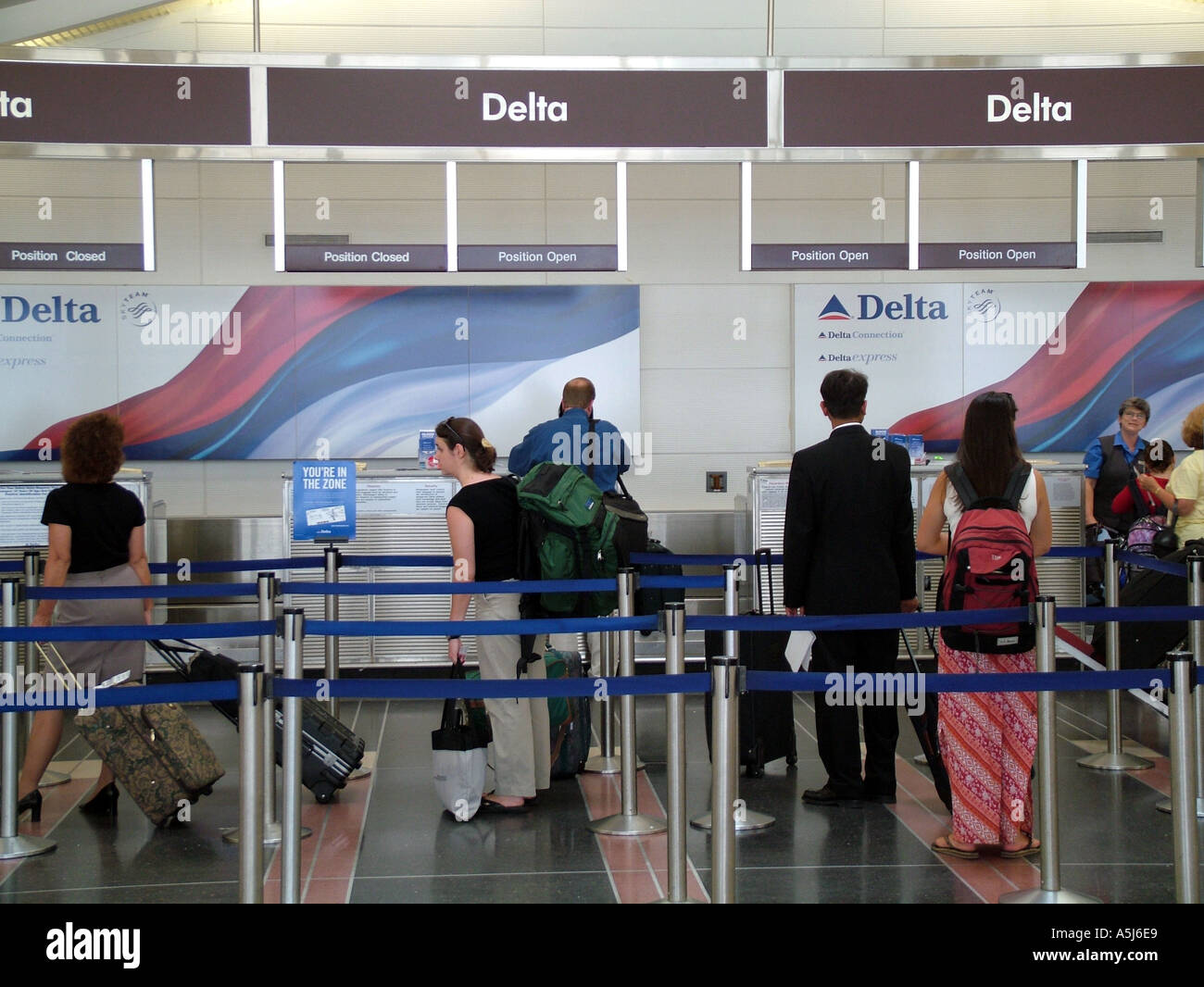 Delta Airlines Passengers Check In Desks At Hartsfield