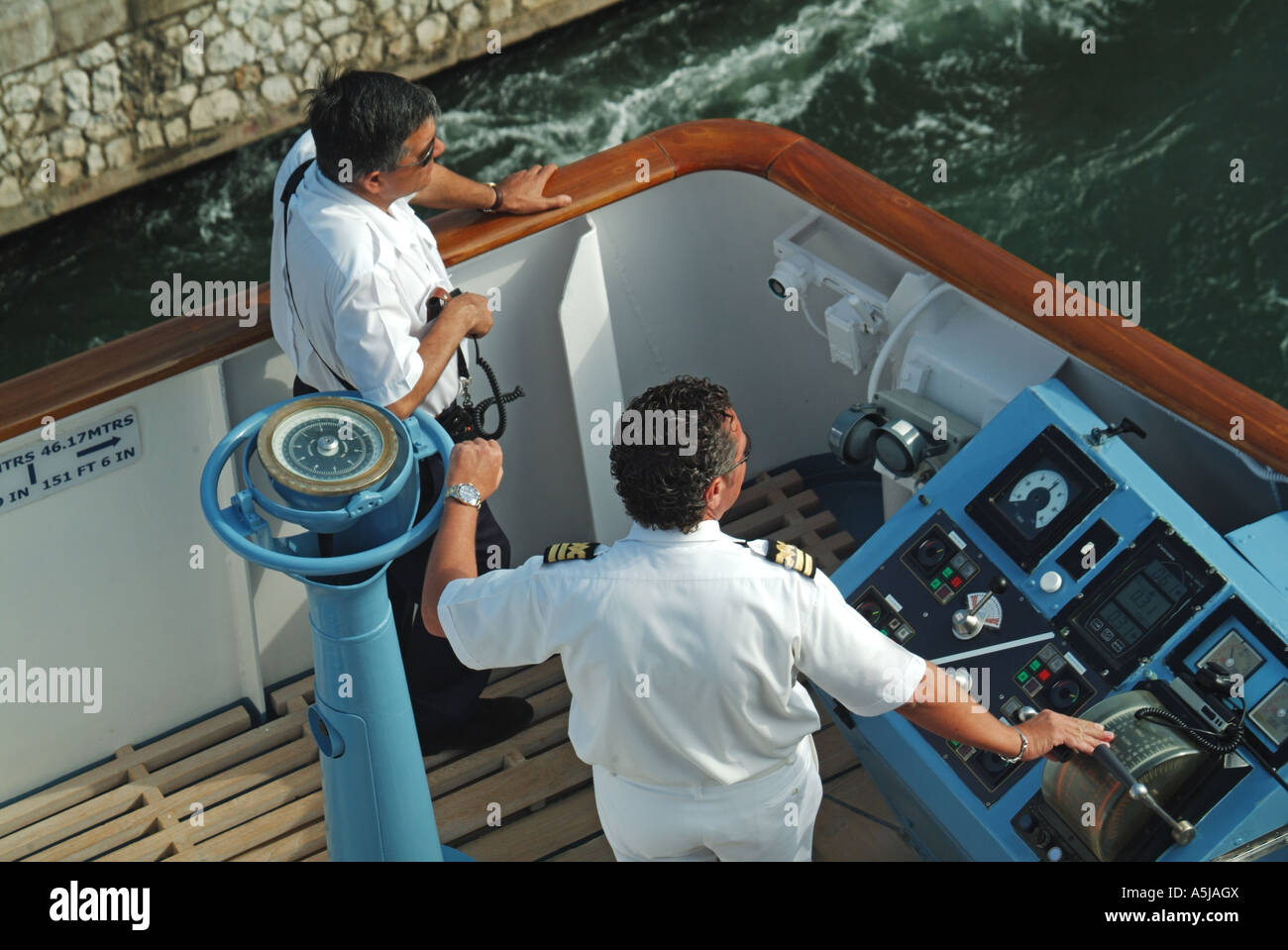 Cruise Ship Captain And Local Pilot At Controls On Wing Bridge - Cruise ship controls