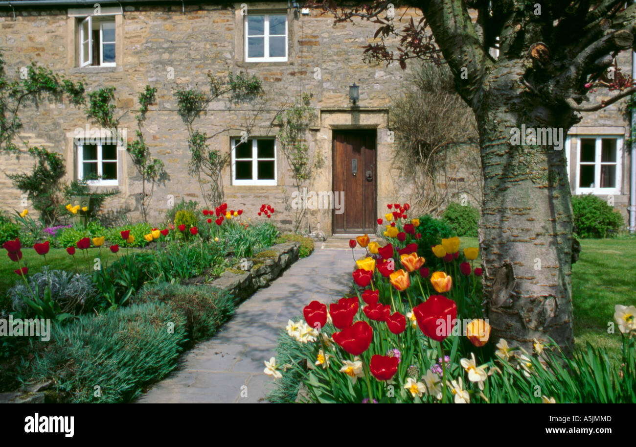 Spring Flowers In A Cottage Garden Burnsall Wharfedale