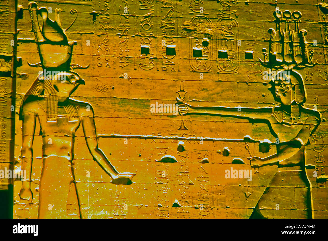 Philae Egypt, Ancient Art, Hieroglyphic, Low Relief on Wall Lit up ...