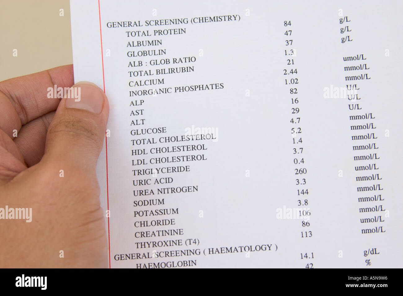 Hand Holding Medical Report Showing Result Of Blood Test