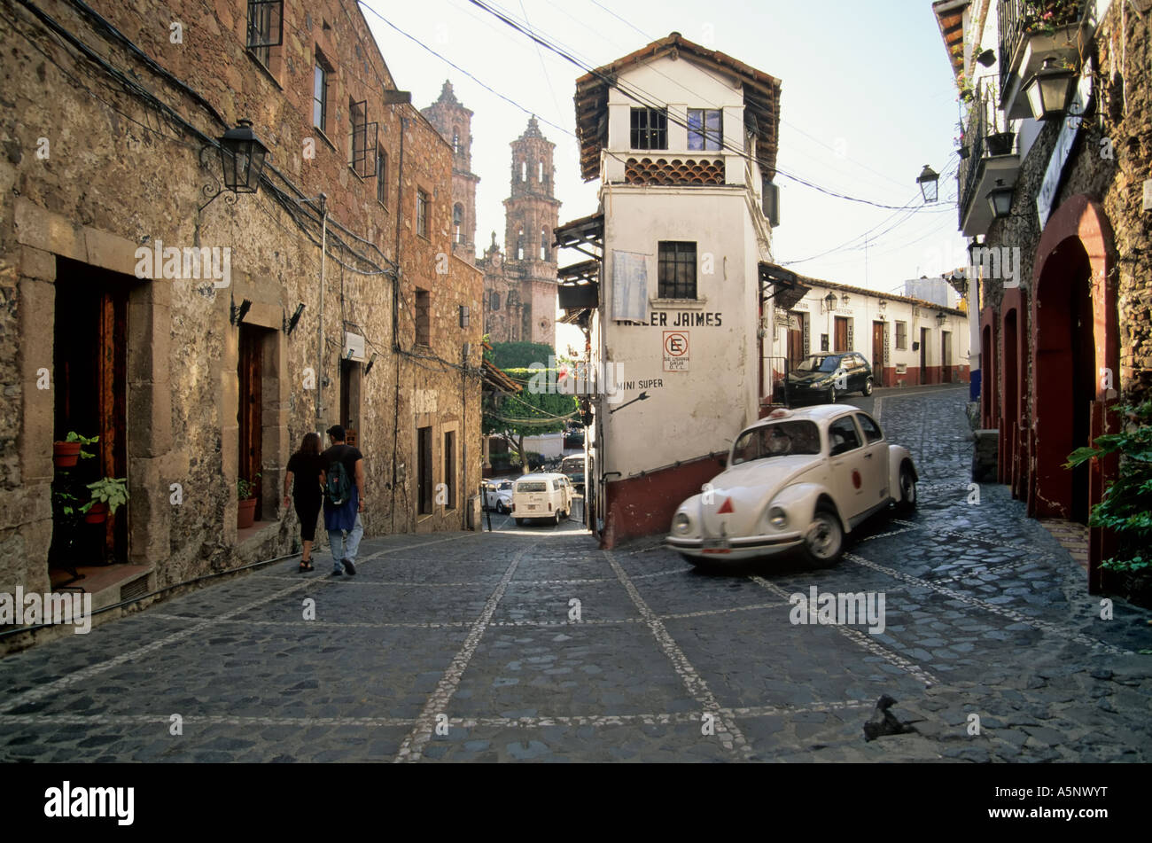 Volkswagen taxis in street near plaza borda in taxco state of guerrero mexico