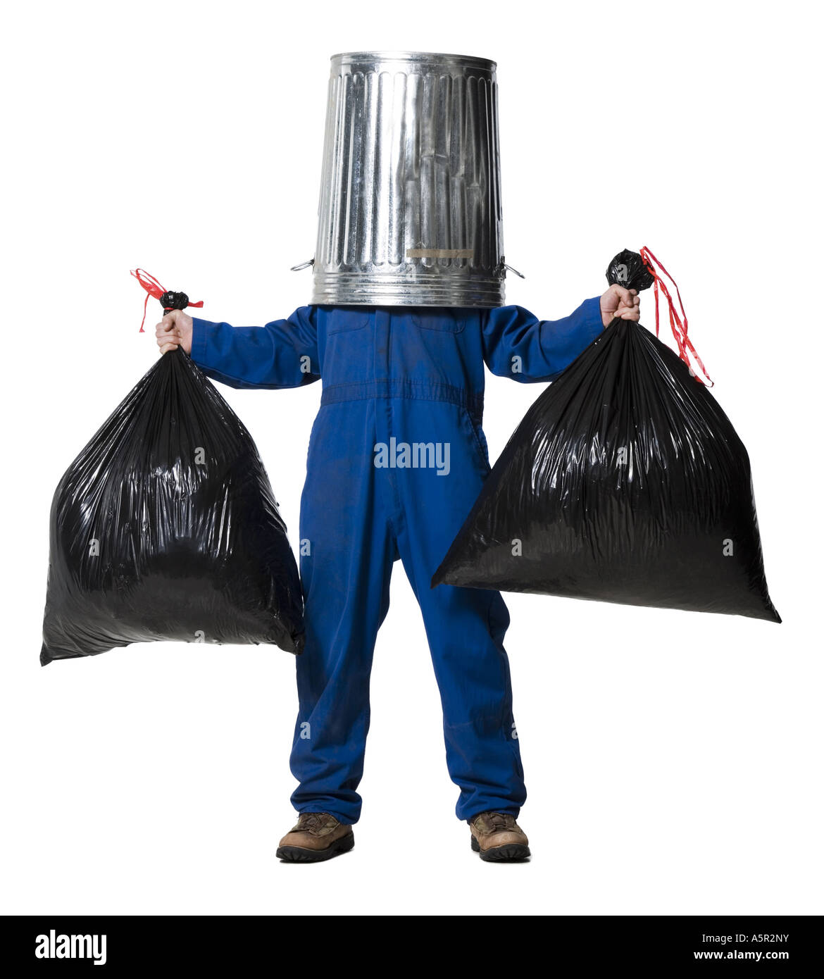 Garbage Man With Trash Can On Head Stock Photo Royalty