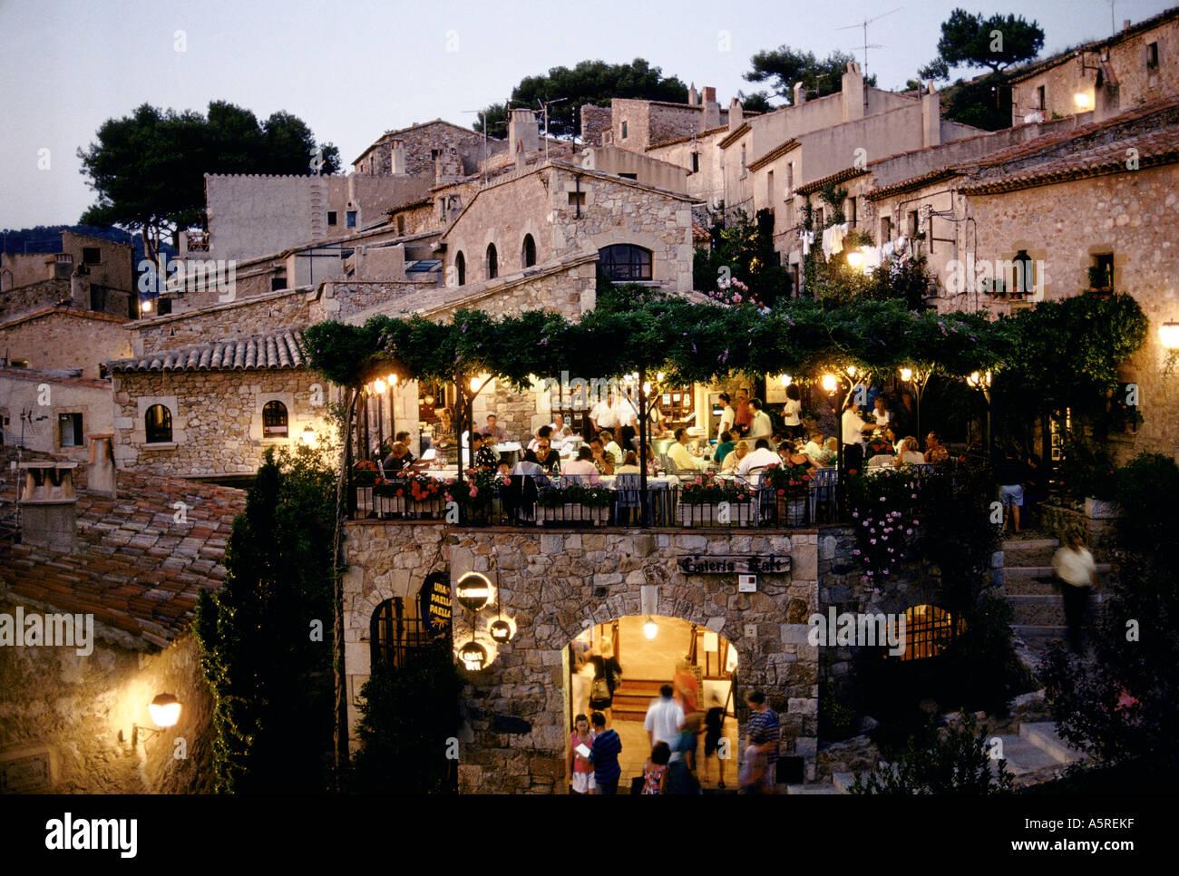 restaurant in tossa del mar catalonia spain stock photo royalty free