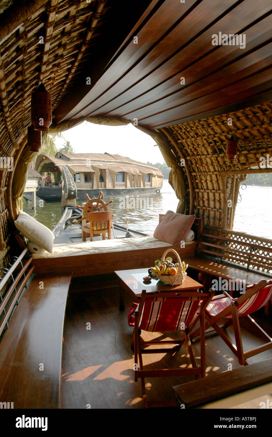 Interior Of A Converted Rice Barge Into Luxury Houseboat Kerala Backwaters Southern India