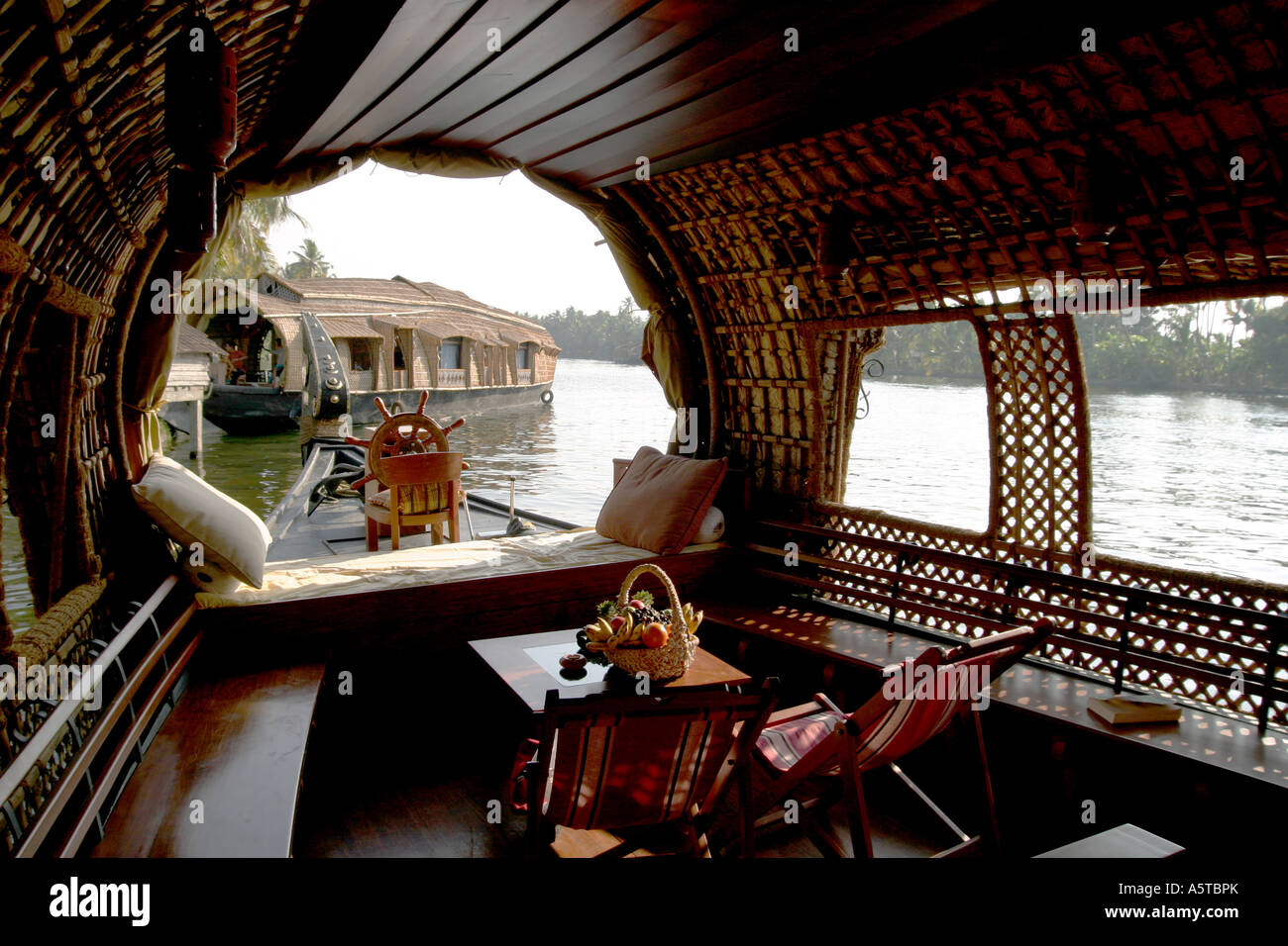 Interior Of A Converted Rice Barge Into A Luxury Houseboat ,Kerala  Backwaters Southern India