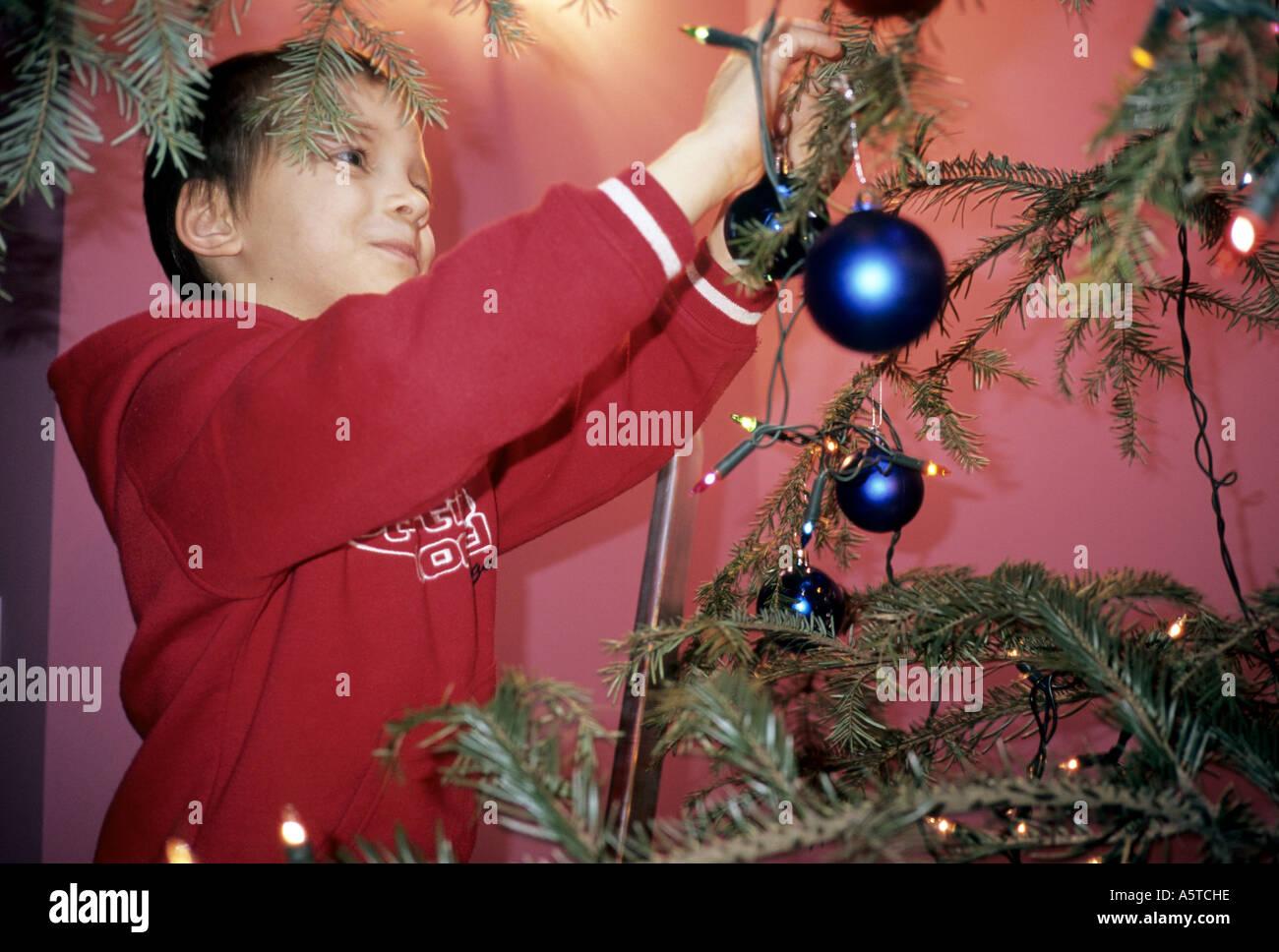 Poland, boy dressing up Christmas tree decoration Stock Photo ...