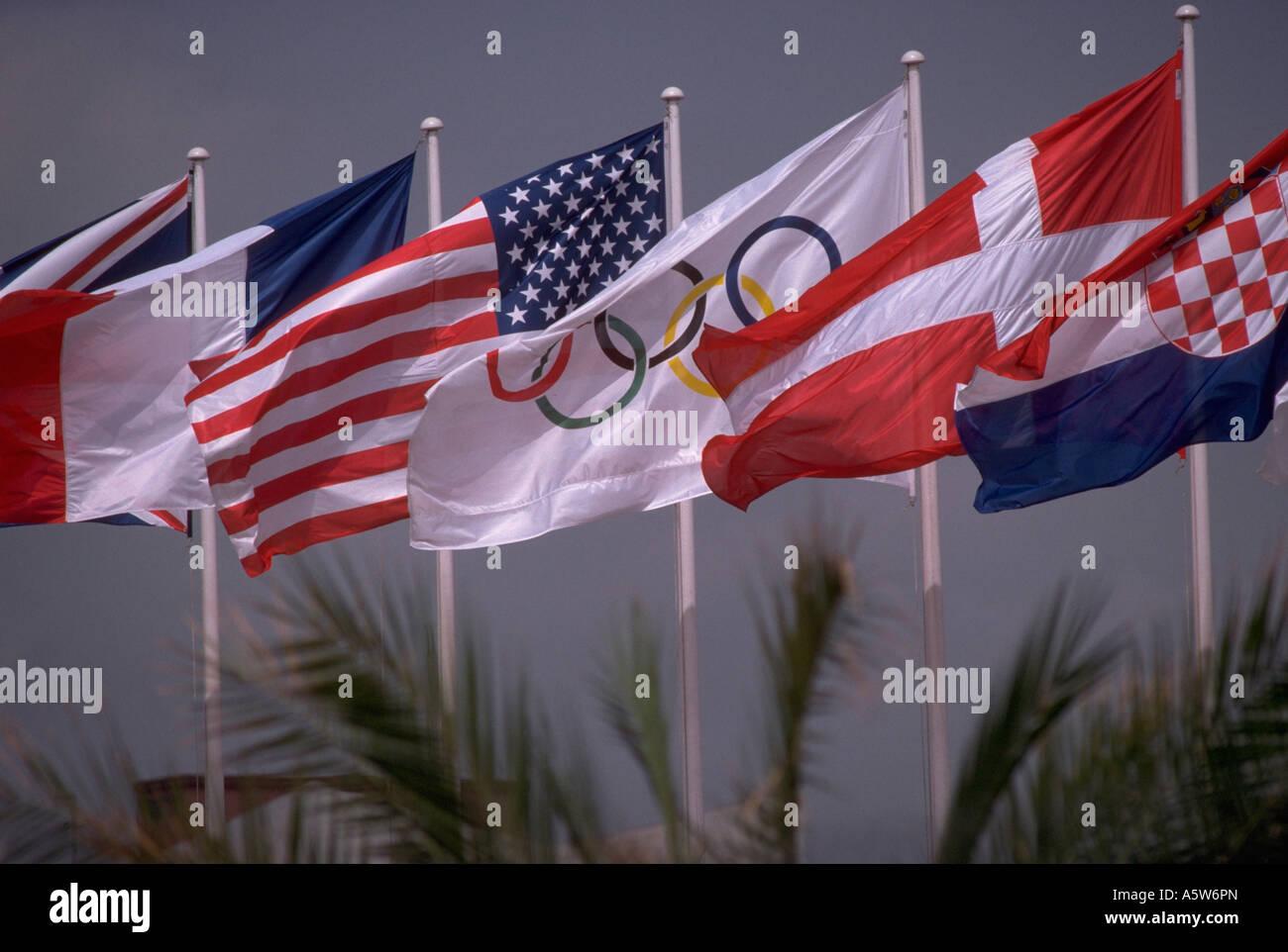 painet hl0782 olympic usa flag olympics spain barcelona flags