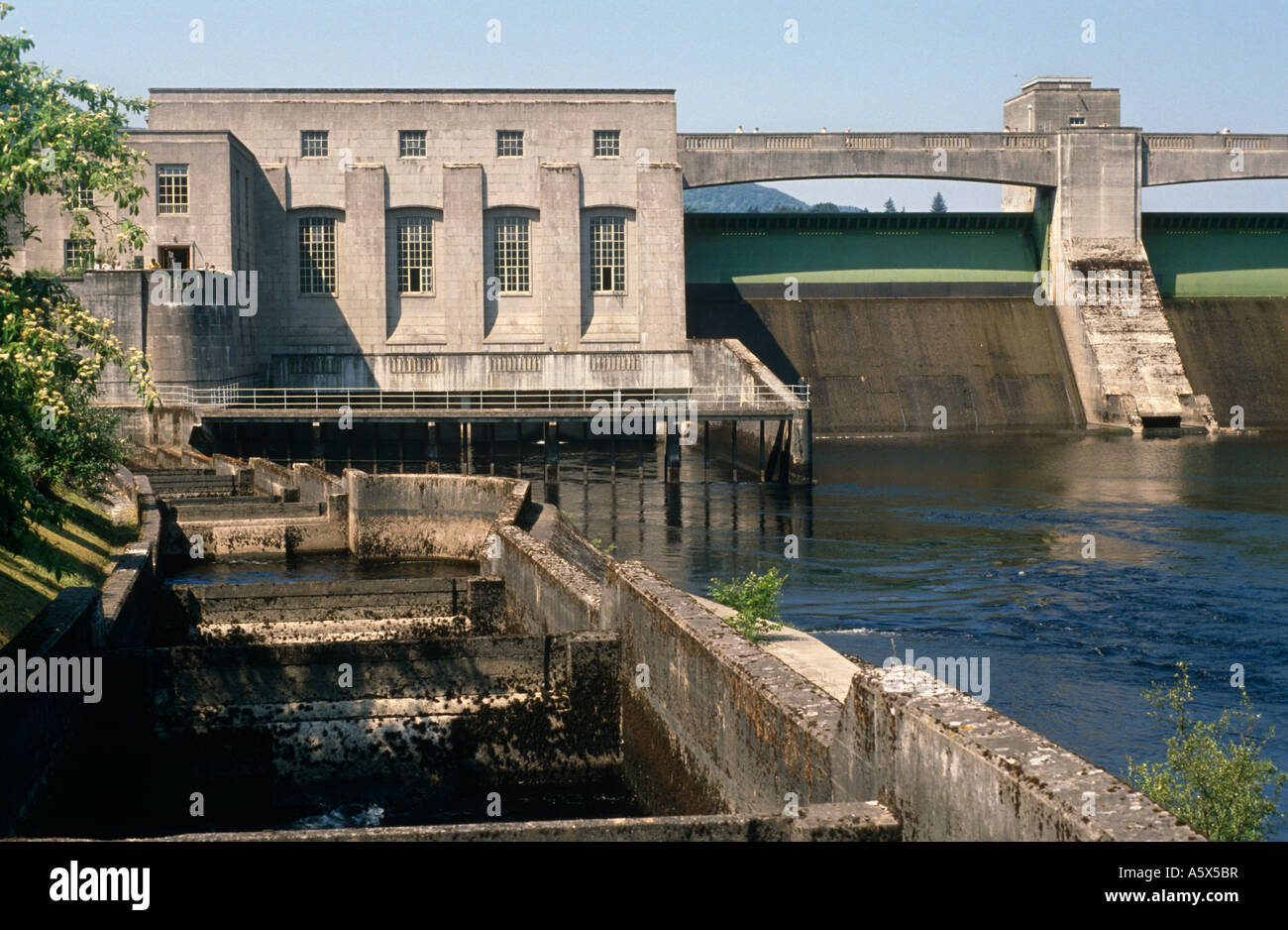 Salmon Fish Ladder Dam And Hydro Electric Power Station