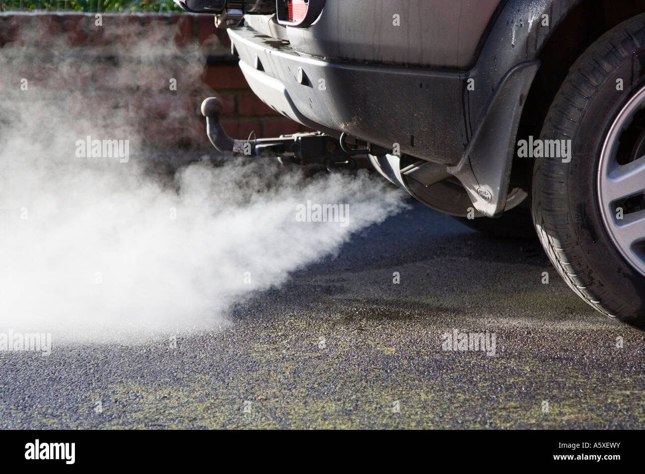 exhaust cloud from a car  engine revving  uk  pollution
