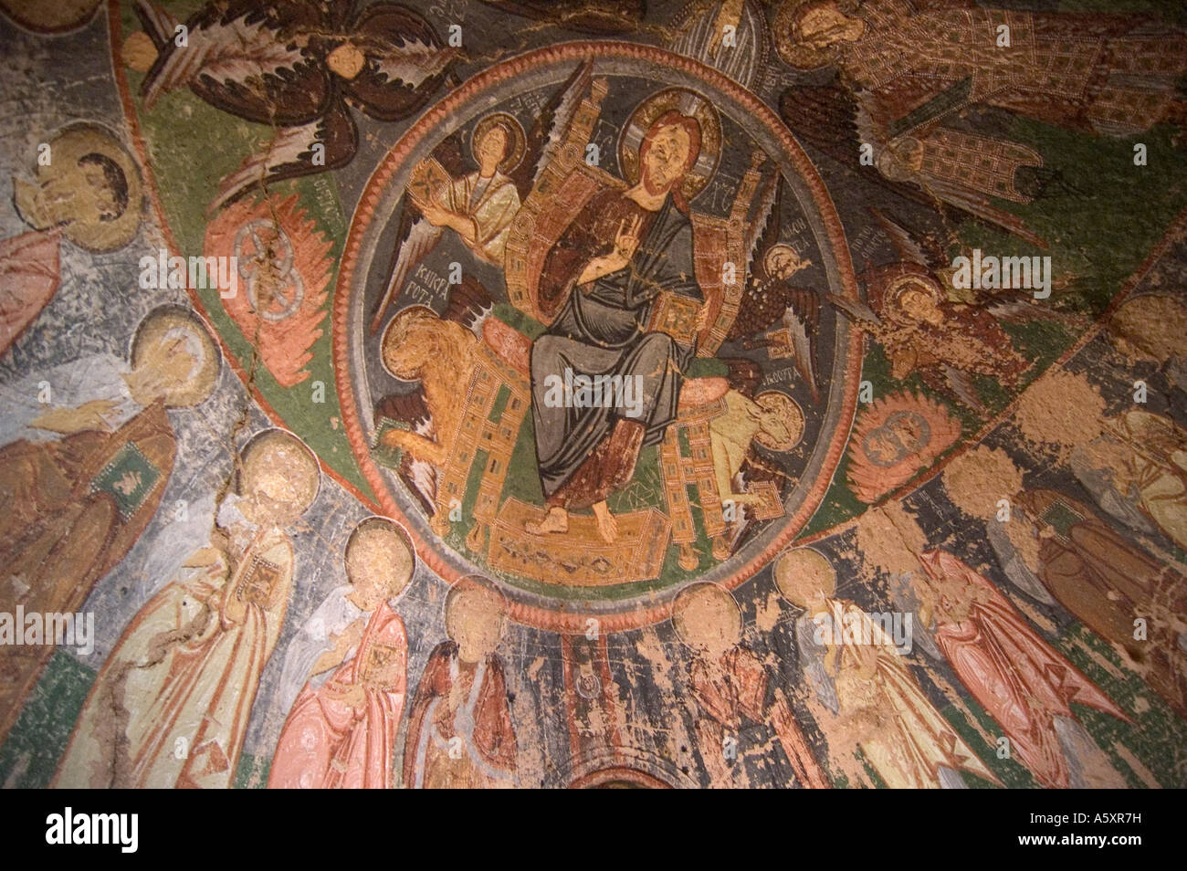 Ancient christian mural ceiling paintings in a troglodyte for Christian mural