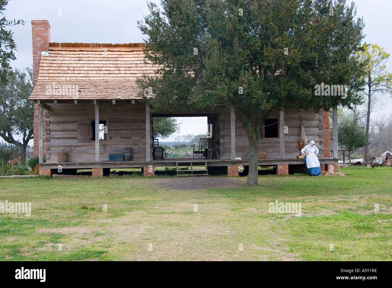 Dogtrot Cabin Woman In Pioneer Dress Farmland Texas