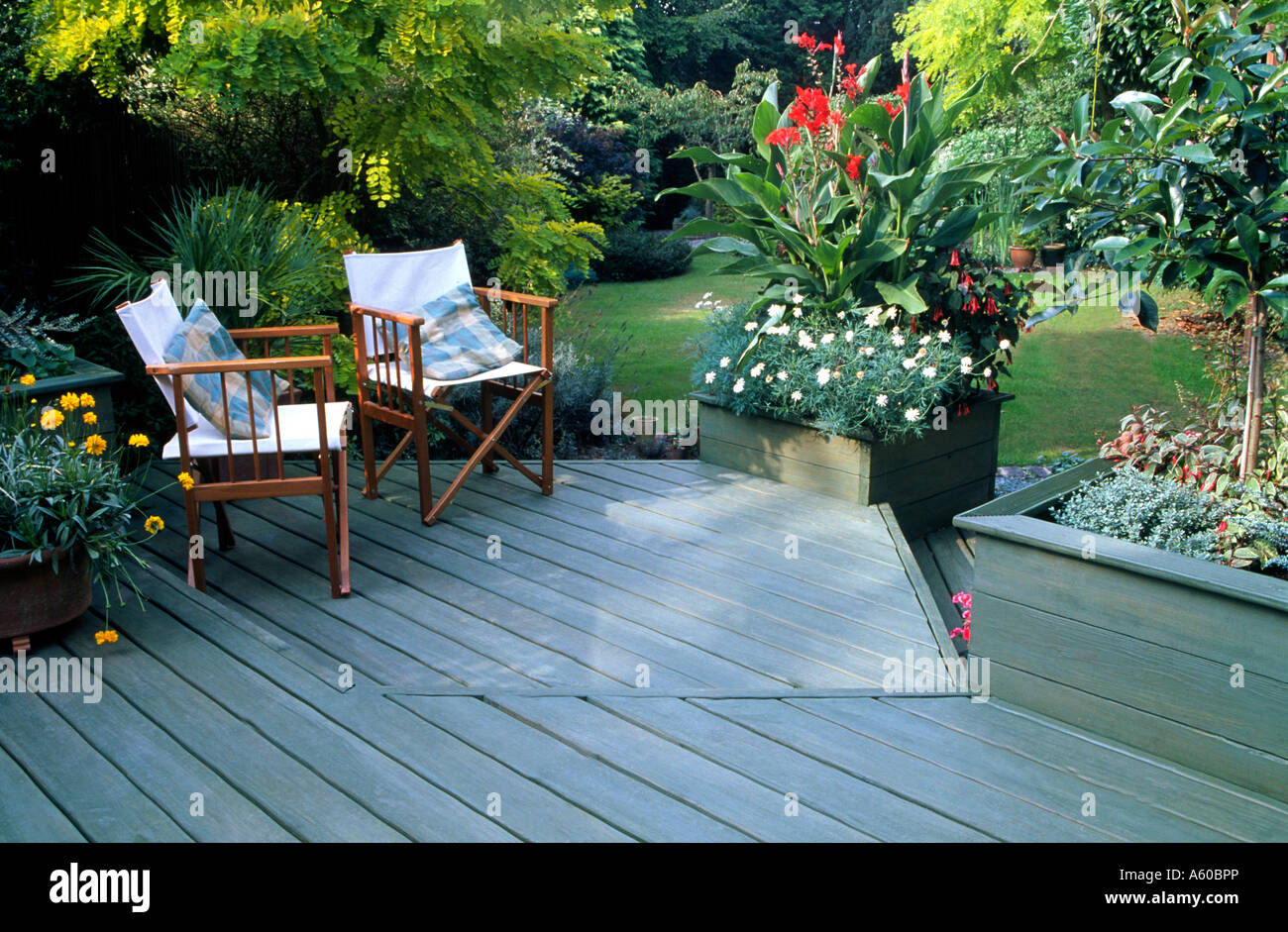 patio garden blue decking chairs cushions garden furniture seating patio terrace relaxing corner