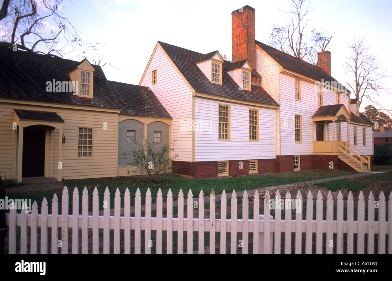 Historical Colonial America in Williamsburg Virginia with old Stock