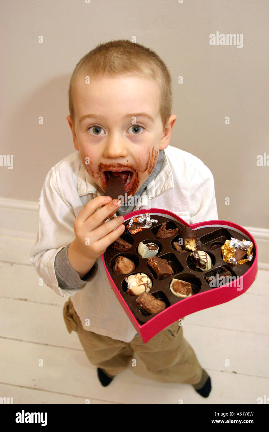 Valentines Day Young Boy With Chocolate Smeared All Over