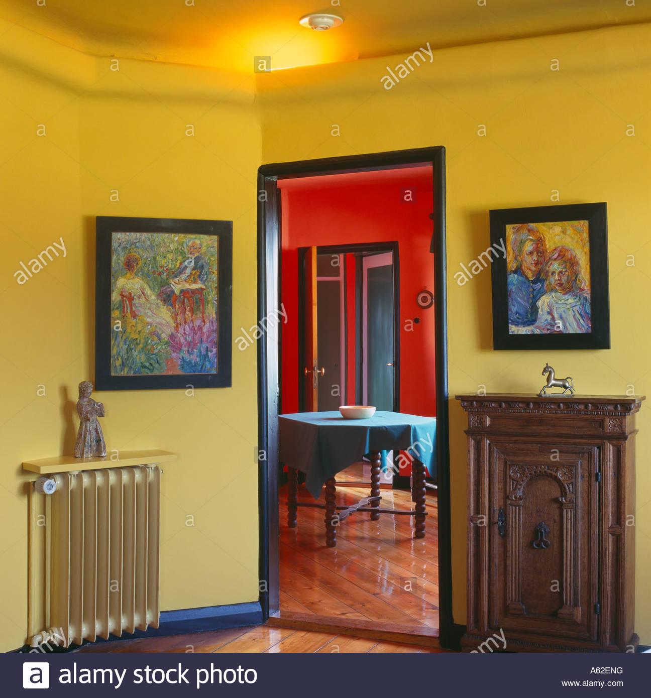 seebüll, nolde museum, das gelbe wohnzimmer mit blick in das rote, Wohnzimmer