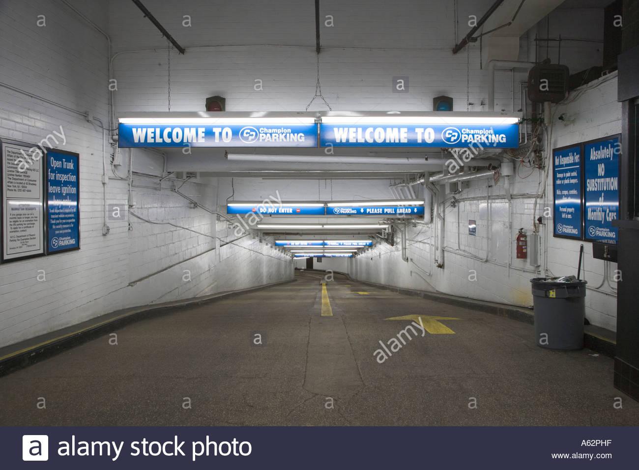 Entrance to an underground parking garage in new york city for New york city parking garage