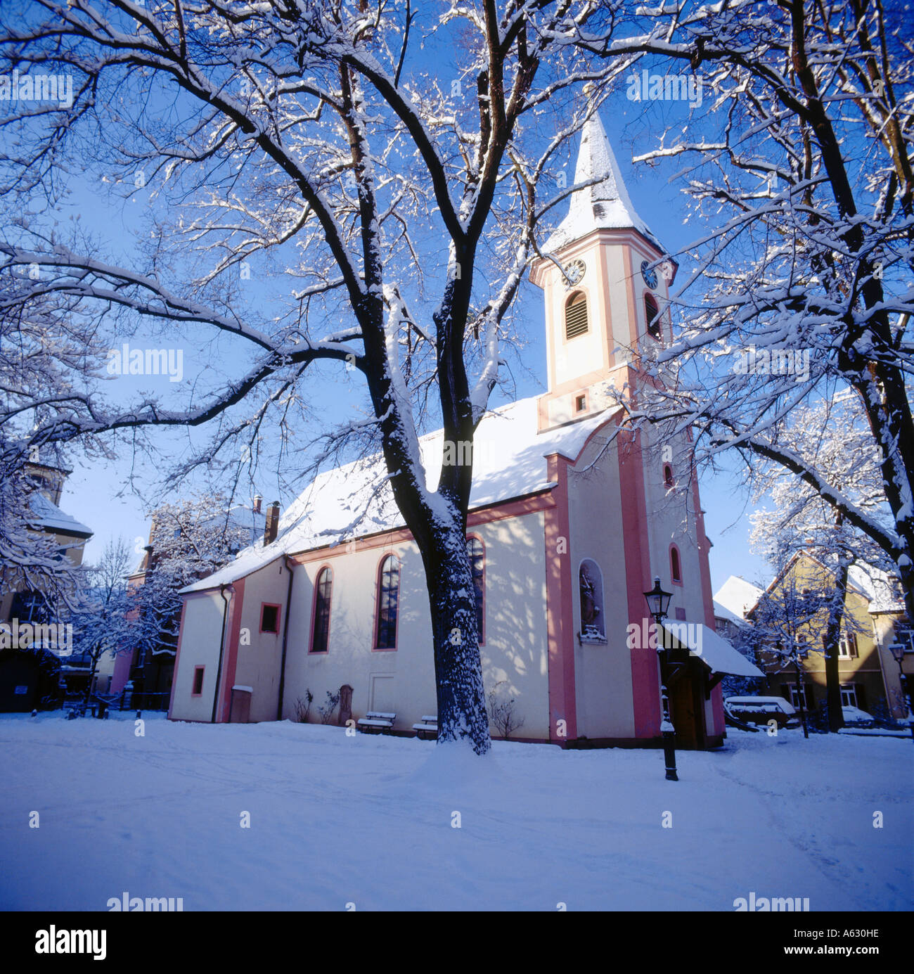 church during winter st anna church freiburg im breisgau stock photo royalty free image. Black Bedroom Furniture Sets. Home Design Ideas