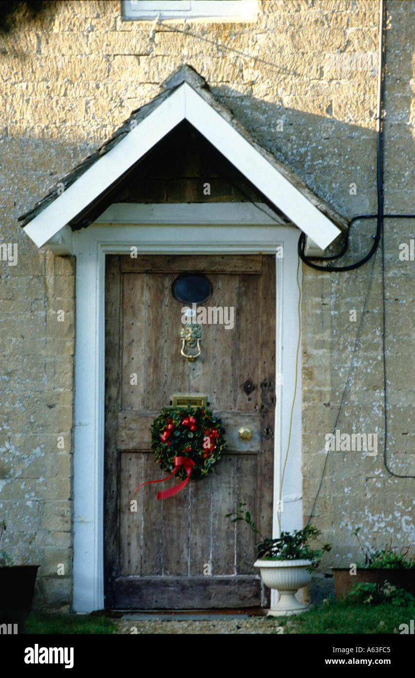 Front Door Of Old English Country Cottage Stock Photo