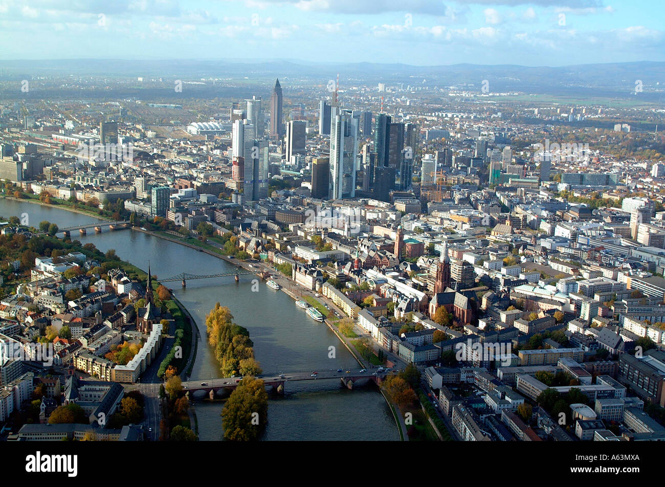 Aerial View Of Buildings And River In City Main River Frankfurt - Hessen germany