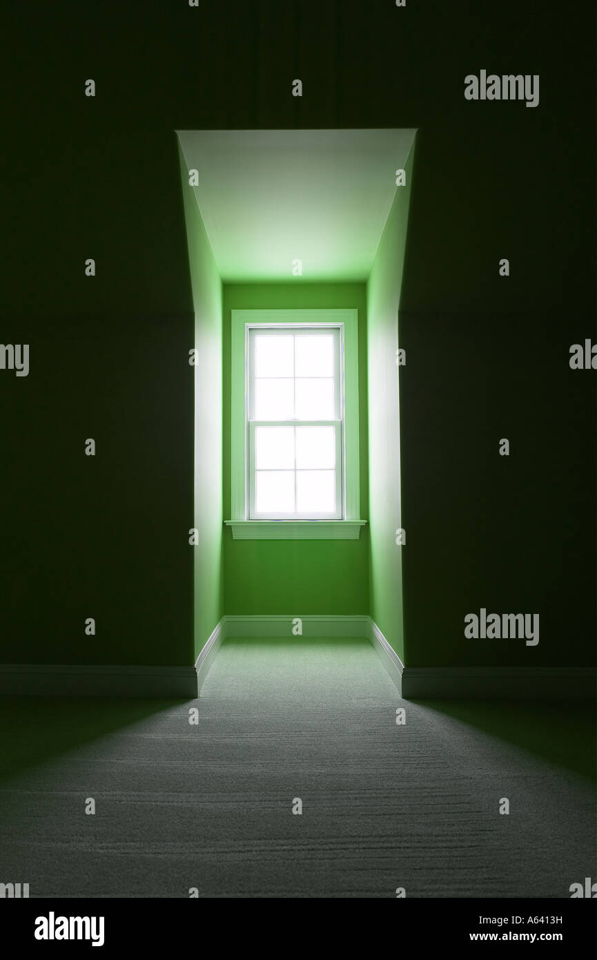 Window With Bright Light Shining Through Alcove With Green