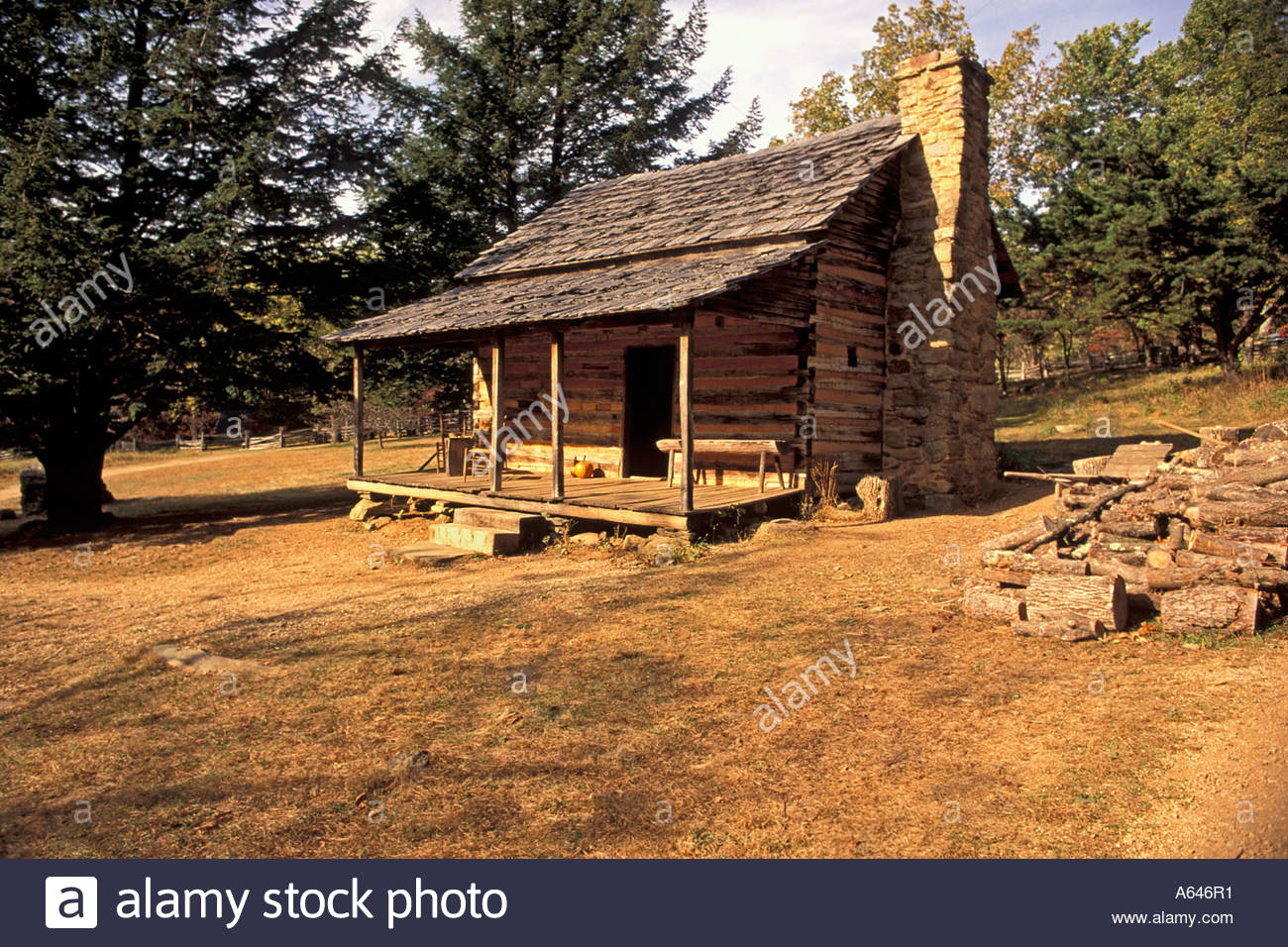Marvelous photograph of Squared Timber Log Cabin With Split Shake Roof At Humpback Rocks On  with #B27419 color and 1300x956 pixels