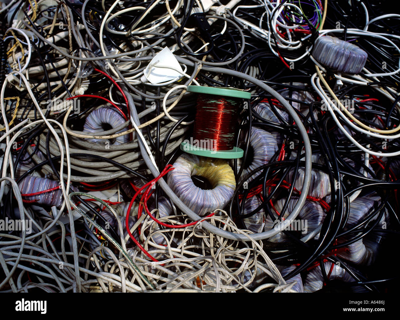 copper wires and telecom computer cables collected for recycling ...