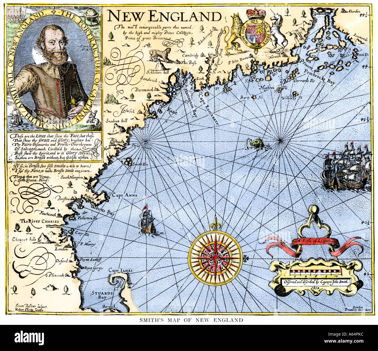 John smith map of new england with inset portrait circa 1620 stock john smith map of new england with inset portrait circa 1620 publicscrutiny Choice Image