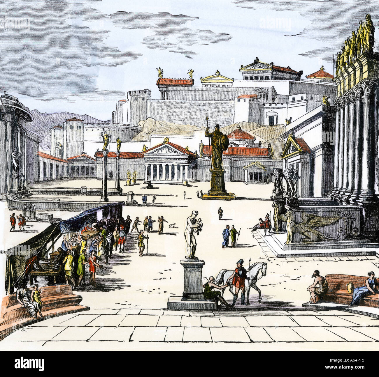 Old Fashioned House Market Place Of Ancient Greek City State Of Sparta Stock