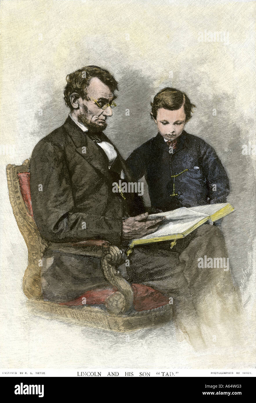 President Abraham Lincoln reading to his son Tad Stock ...