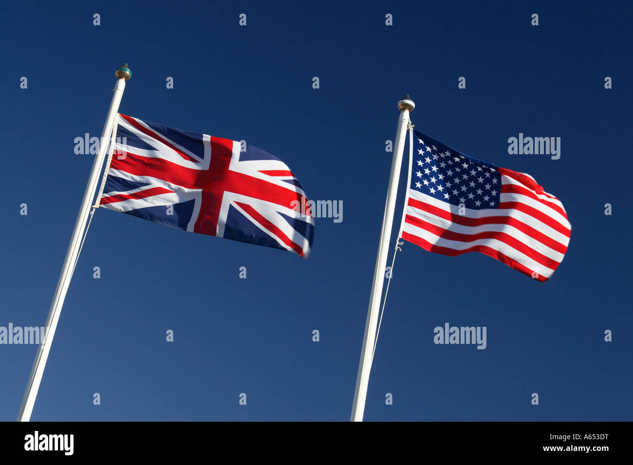 union jack and stars and stripes flags of uk and usa flying