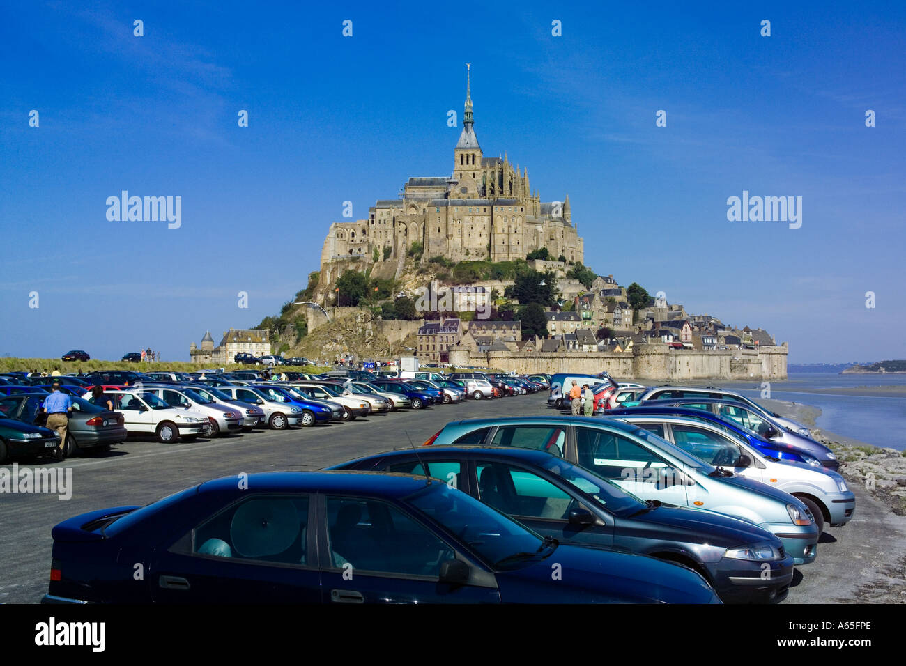 car park and mont st michel normandy stock photo royalty