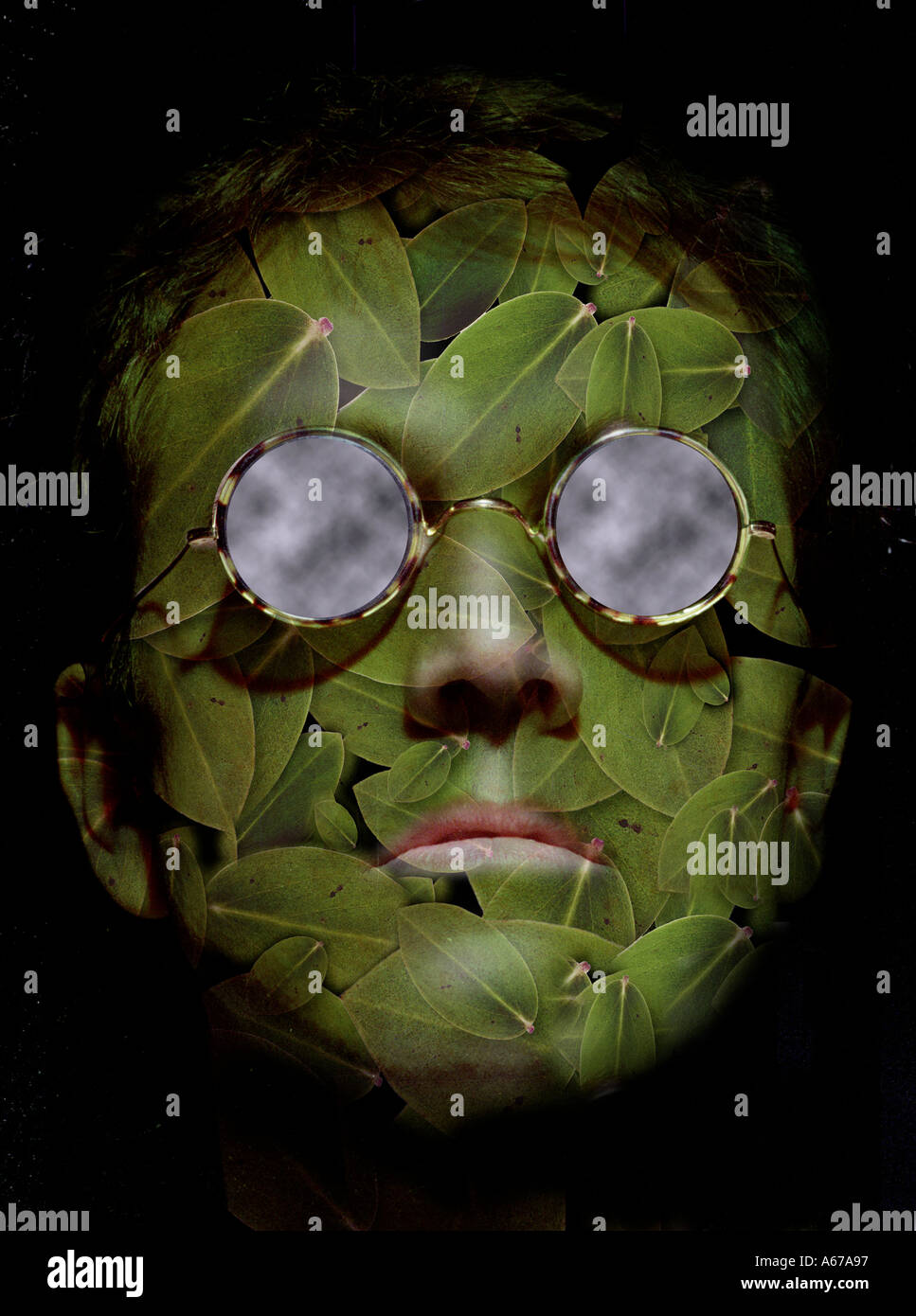 idea nature concept man s face made of leaves wearing sunglasses