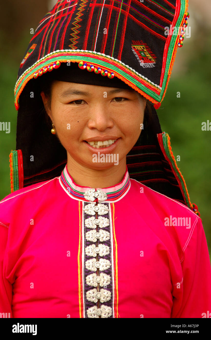 Portrait of a <b>Tai Dam</b> indigenous woman in a pink traditional dress, <b>...</b> - portrait-of-a-tai-dam-indigenous-woman-in-a-pink-traditional-dress-A67J3P