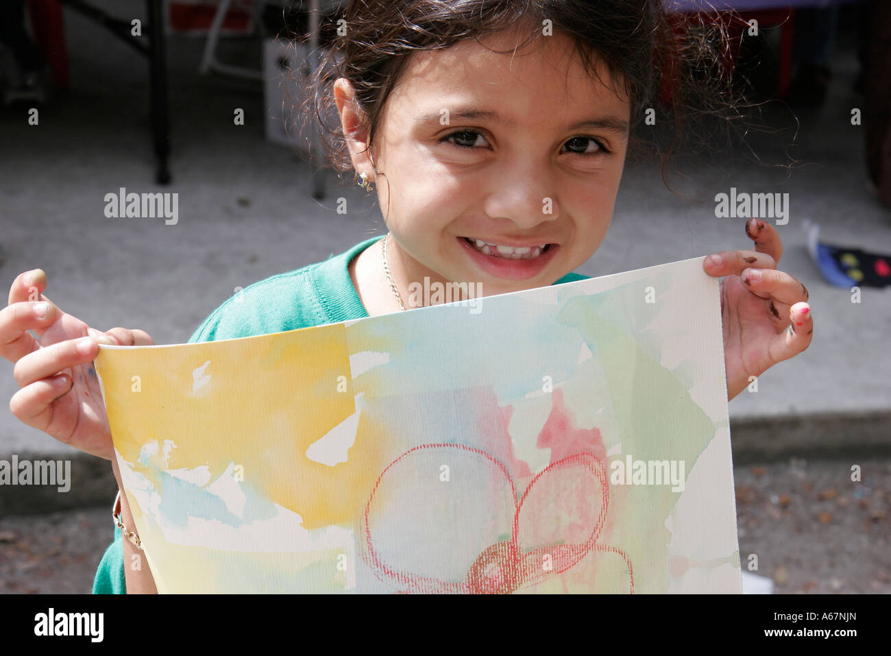 hispanic family activities. Miami Florida Kendall Family Festival Of The Arts Disabled Children Activities Hispanic Girl Watercolor Drawing P